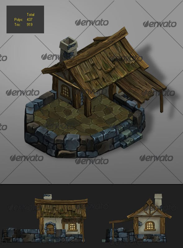 low poly wood house 1 - 3DOcean Item for Sale