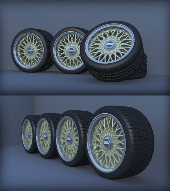 BBS RZ 4x100 Car Wheels Set - 3DOcean Item for Sale