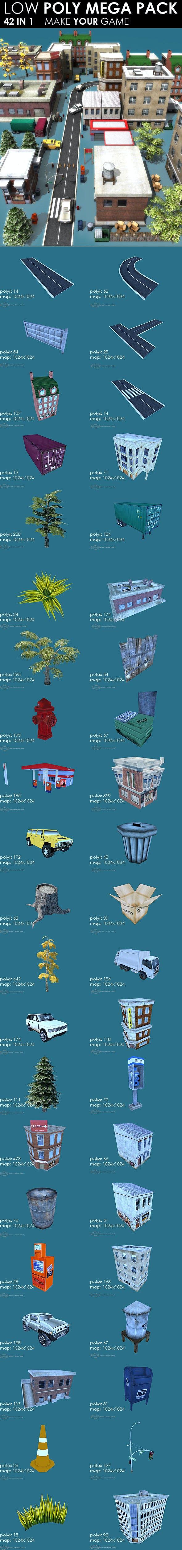 Low poly City Megapack (42 models) - 3DOcean Item for Sale