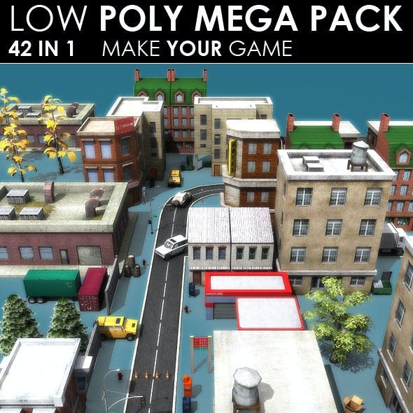 Low poly City Megapack (42 models)
