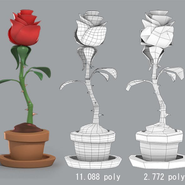 Cartoon Rose in the pot
