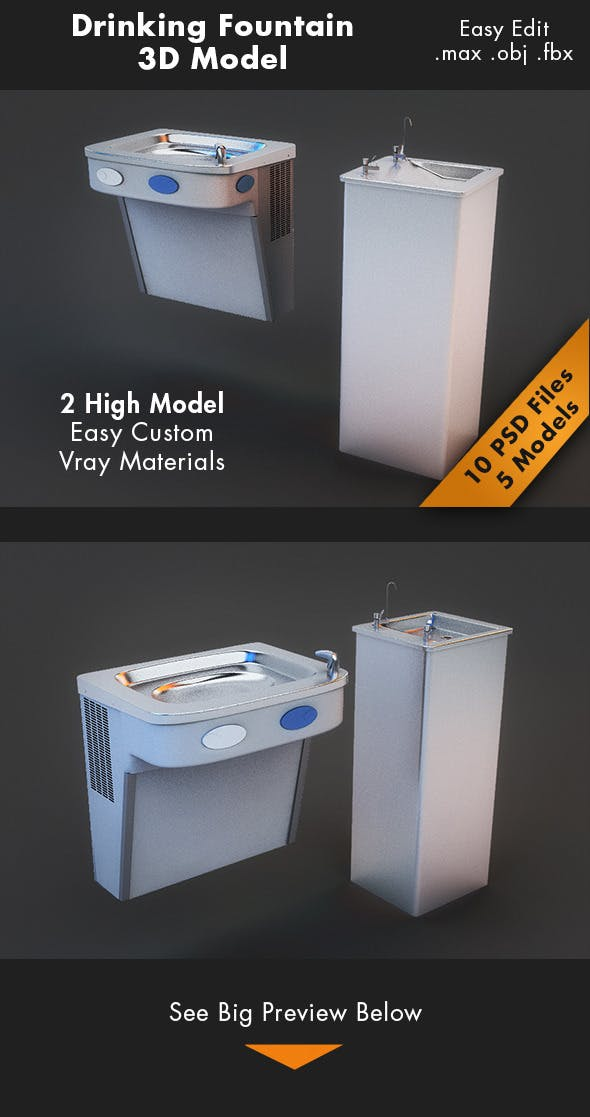 Drinking Fountain Model - 3DOcean Item for Sale