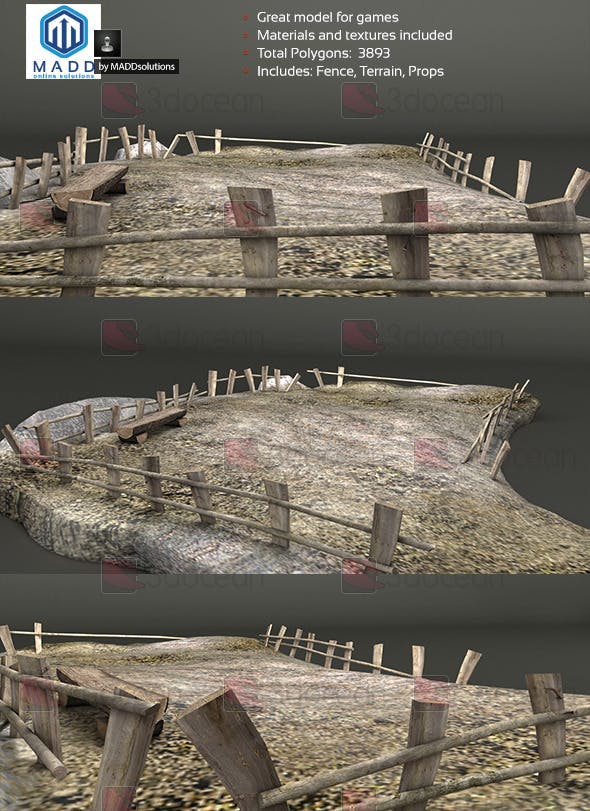 Old Wood Fence Pack + Bench and Terrain - 3DOcean Item for Sale
