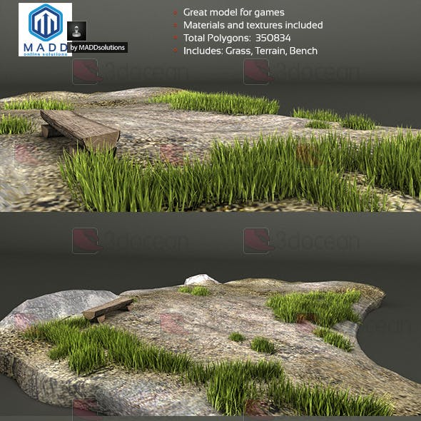 Grass / Weed Pack + Bench and Terrain