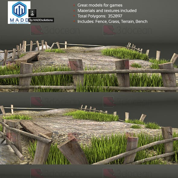 Old Wood Fence and Grass Pack + Bench and Terrain