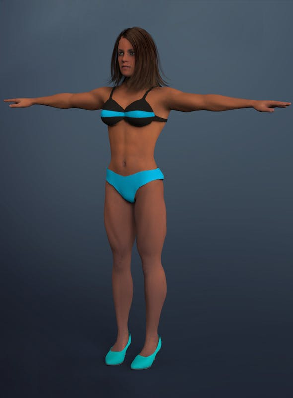 muscular woman - 3DOcean Item for Sale