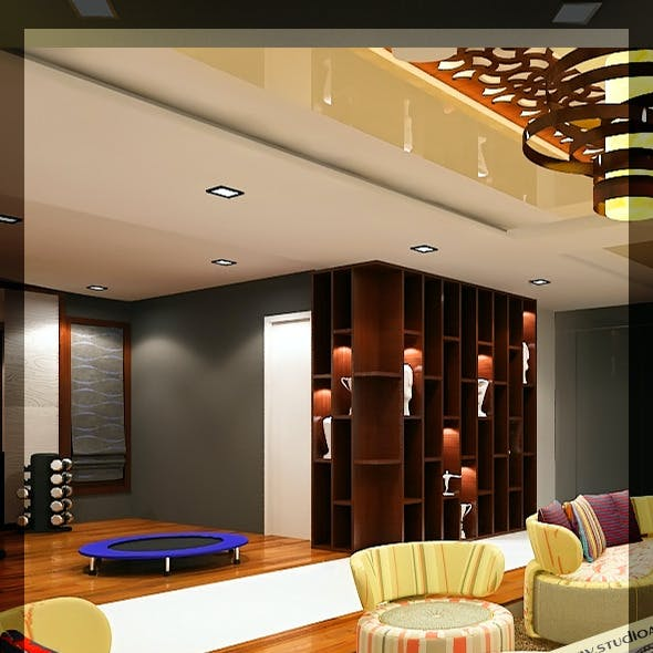 Realistic Living Room With Gym 121