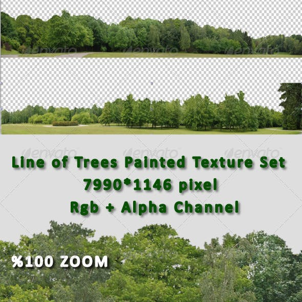 Line of Tree Painted Hi-Res Texture Set