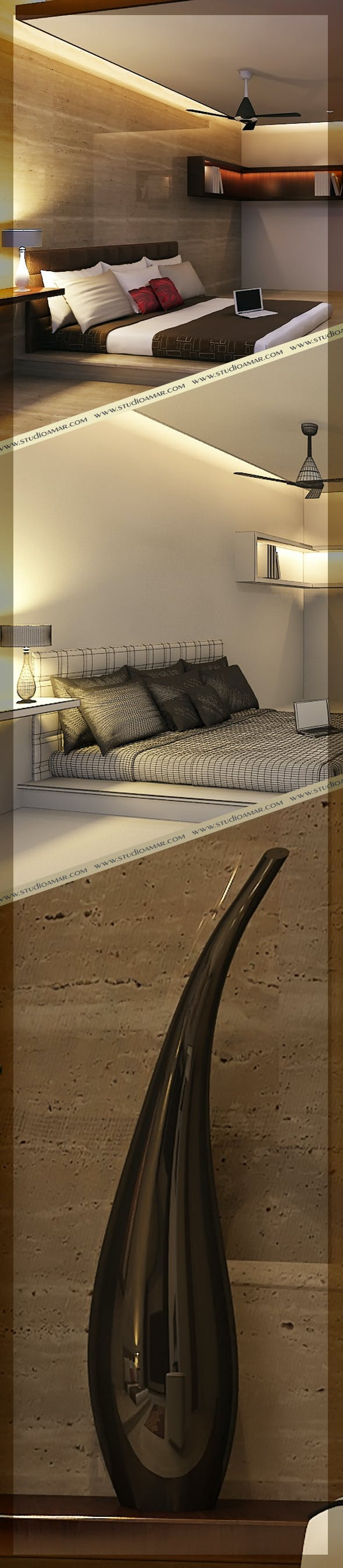 Realistic Bed Room 122 - 3DOcean Item for Sale