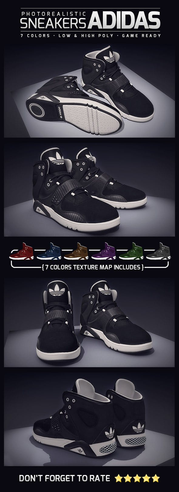 Sneakers Adidas Photorealistic - 3DOcean Item for Sale