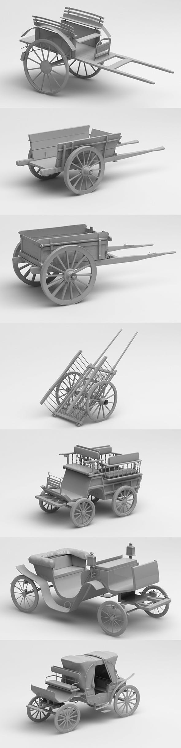 3D old cars and chariots - 3DOcean Item for Sale