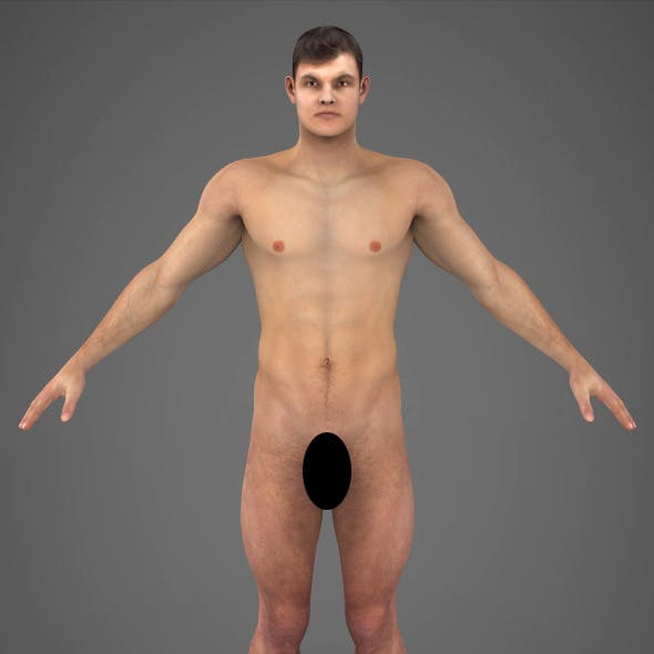 Realistic Young Muscular Man