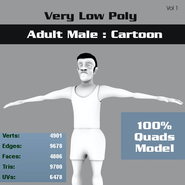 Low Poly Adult Male Cartoon