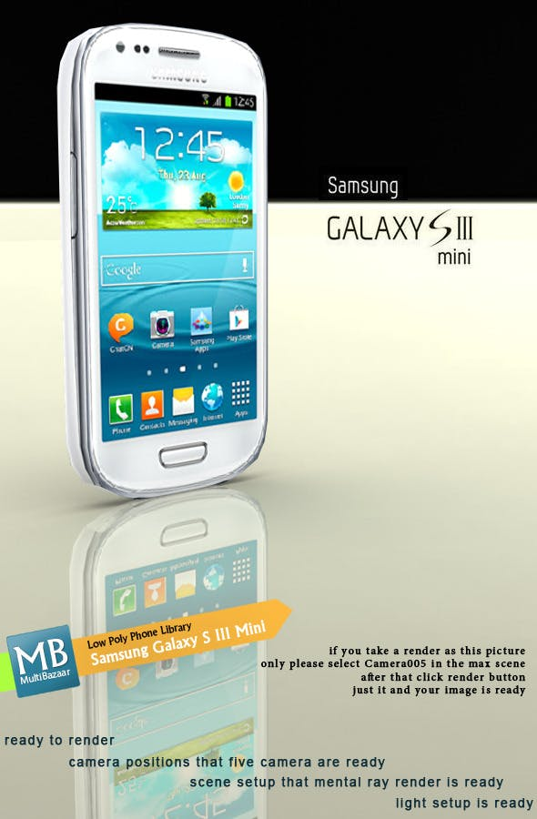Samsung Galaxy S III Mini Low Poly - 3DOcean Item for Sale