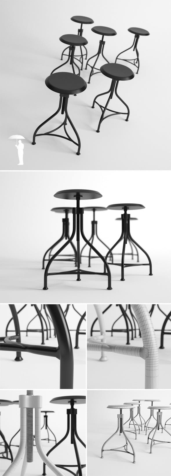 Piano stool - 3DOcean Item for Sale