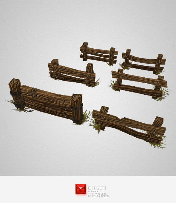 Low Poly Fence Set 02 - 3DOcean Item for Sale