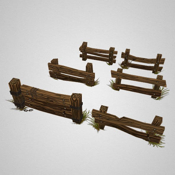 Low Poly Fence Set 02