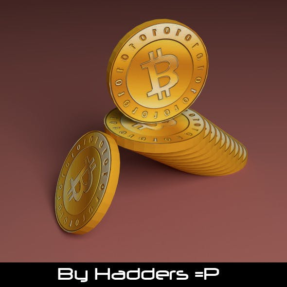 3D Bitcoin stacked