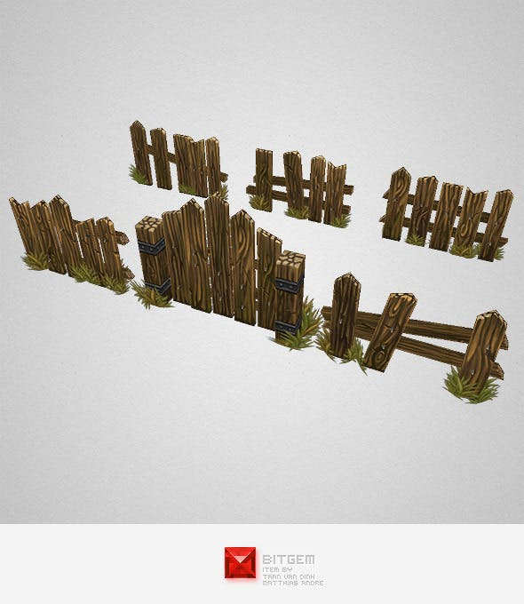 Low Poly Fence Set 03 - 3DOcean Item for Sale