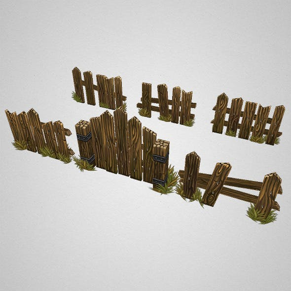 Low Poly Fence Set 03