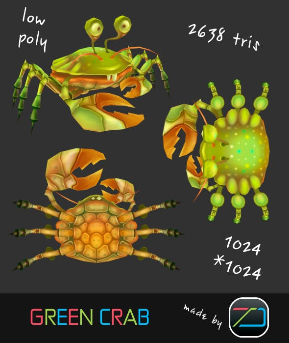 Green Crab - 3DOcean Item for Sale