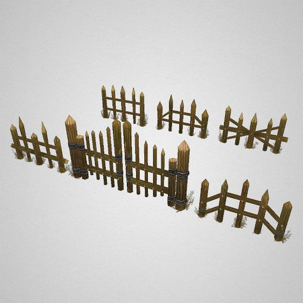 Low Poly Fence Set 01