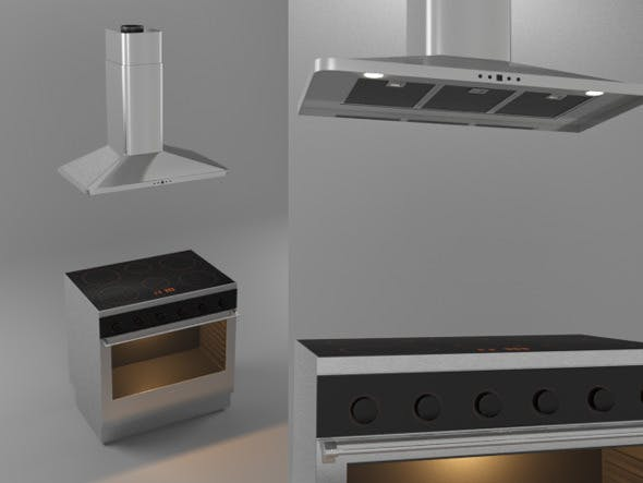 Stove and Kitchen Hood - 3DOcean Item for Sale
