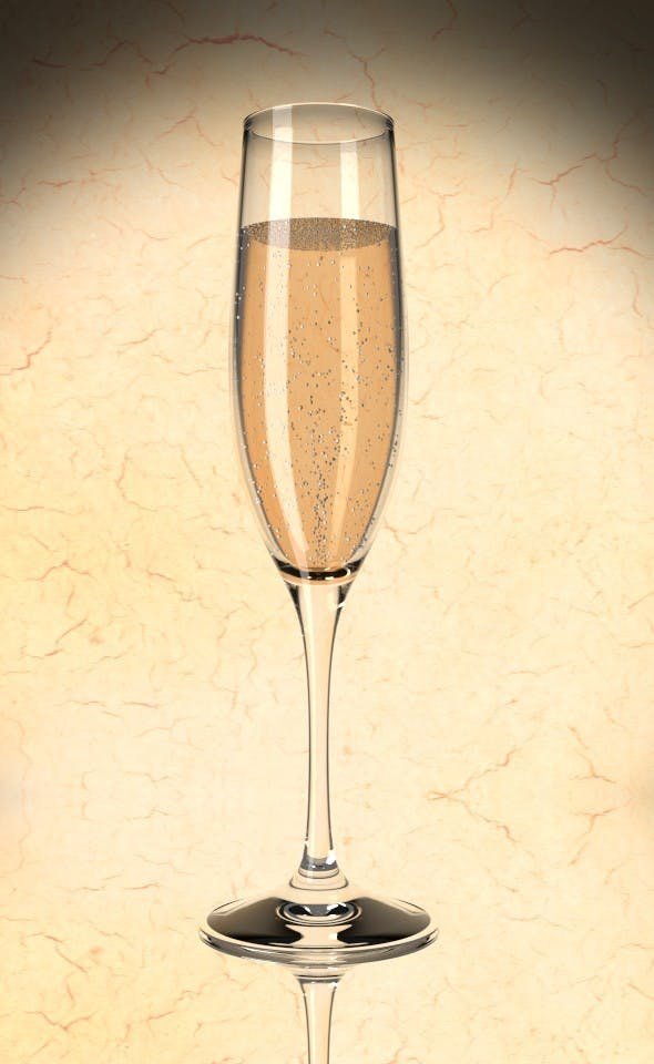 Champagne Glas - 3DOcean Item for Sale