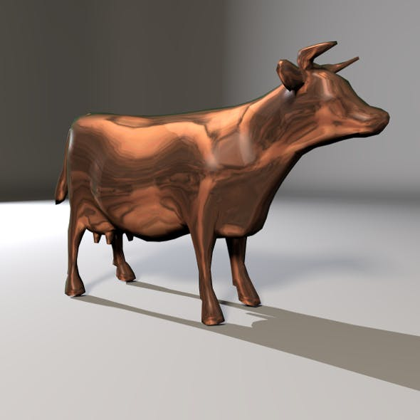 Bronze Cow Low Poly