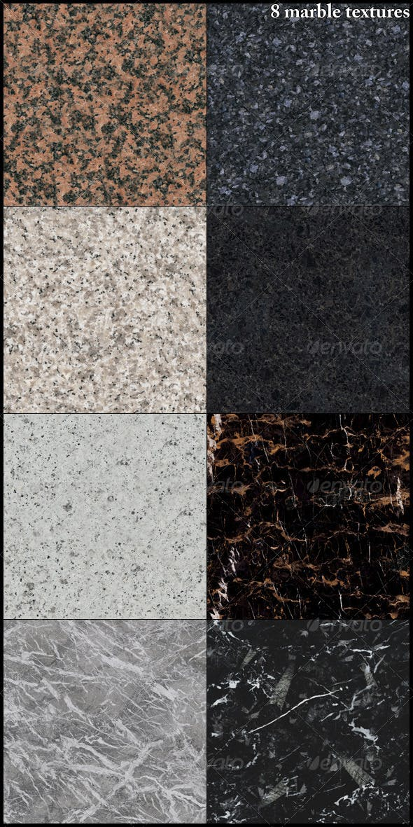 8 marble textures - 3DOcean Item for Sale
