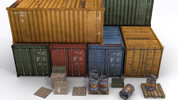 Cargo Prop Asset Set for Games - 3DOcean Item for Sale