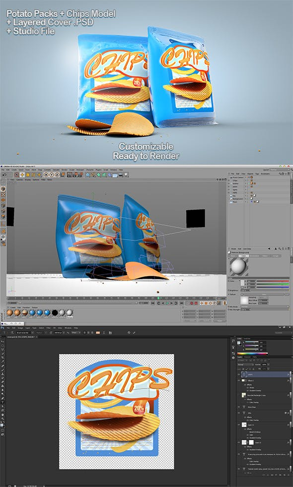 Chips Packs + PSD - 3DOcean Item for Sale