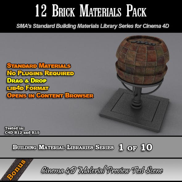 12 Standard Brick Materials Pack for Cinema 4D