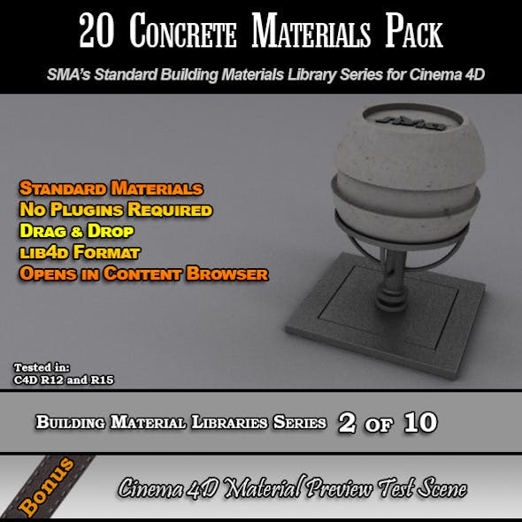 20 Standard Concrete Materials Pack for Cinema 4D