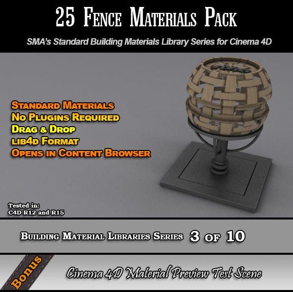 25 Standard Fences Materials Pack for Cinema 4D - 3DOcean Item for Sale