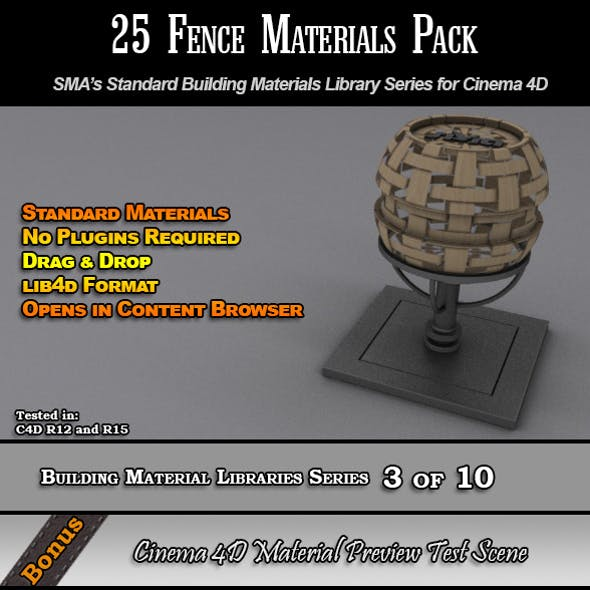 25 Standard Fences Materials Pack for Cinema 4D