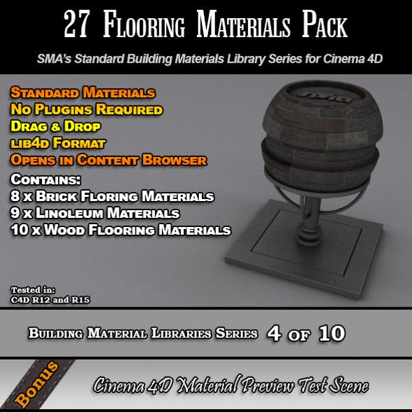 27 Standard Flooring Materials Pack for Cinema 4D