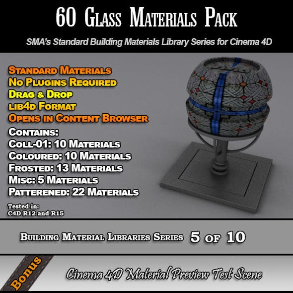60 Standard Glass Materials Pack for Cinema 4D