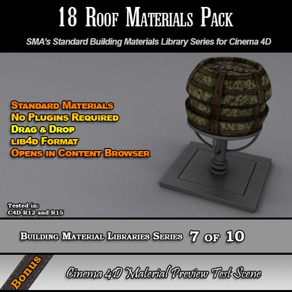 18 Standard Roof Materials Pack for Cinema 4D