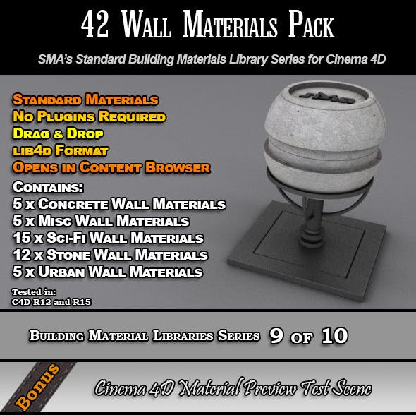 42 Standard Wall Materials Pack for Cinema 4D - 3DOcean Item for Sale