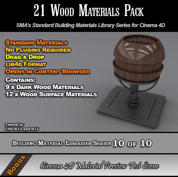 21 Standard Wood Materials Pack for Cinema 4D - 3DOcean Item for Sale
