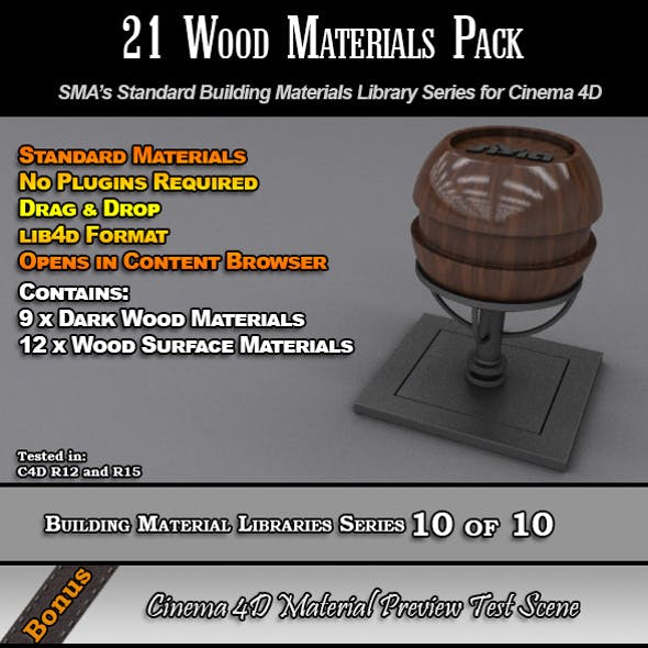 21 Standard Wood Materials Pack for Cinema 4D