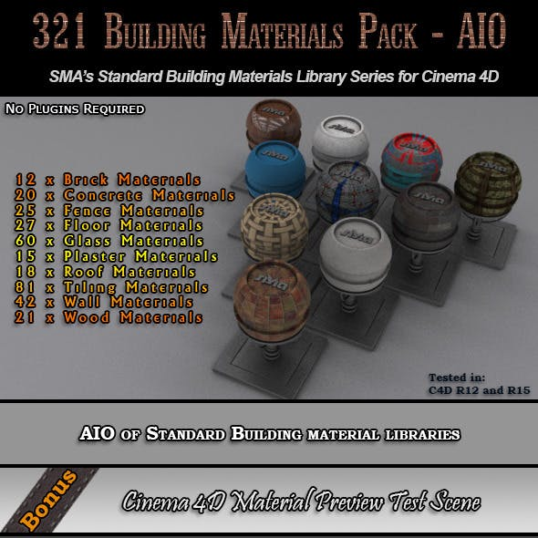 321 Comprehensive Building Materials Pack for C4D
