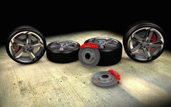 Super Sport Car Wheel Set with Brembo Breaks - 3DOcean Item for Sale
