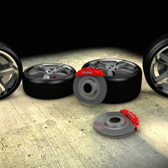 Super Sport Car Wheel Set with Brembo Breaks