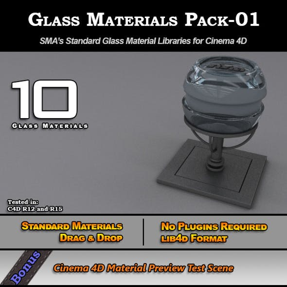 Glass Materials Pack-01 for Cinema 4D [Standard]