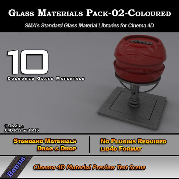 Glass Materials Pack-02-Coloured for Cinema 4D