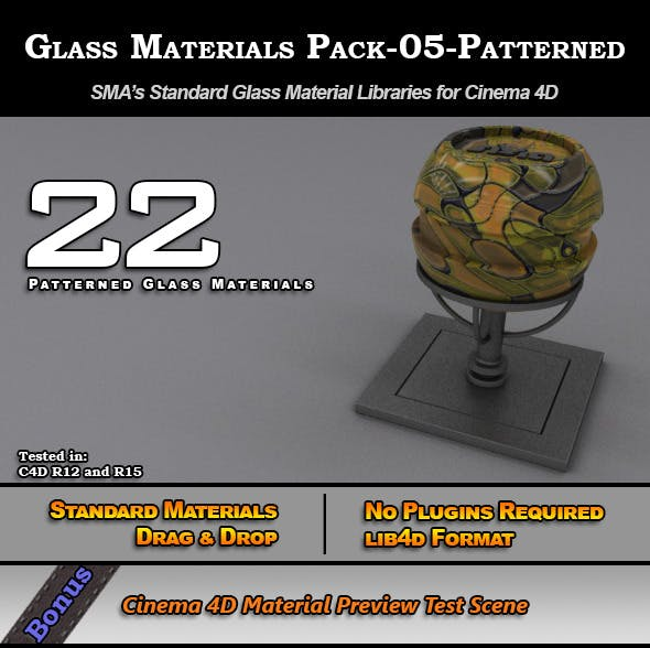 Glass Materials Pack-05-Patterned for Cinema 4D - 3DOcean Item for Sale