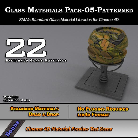 Glass Materials Pack-05-Patterned for Cinema 4D