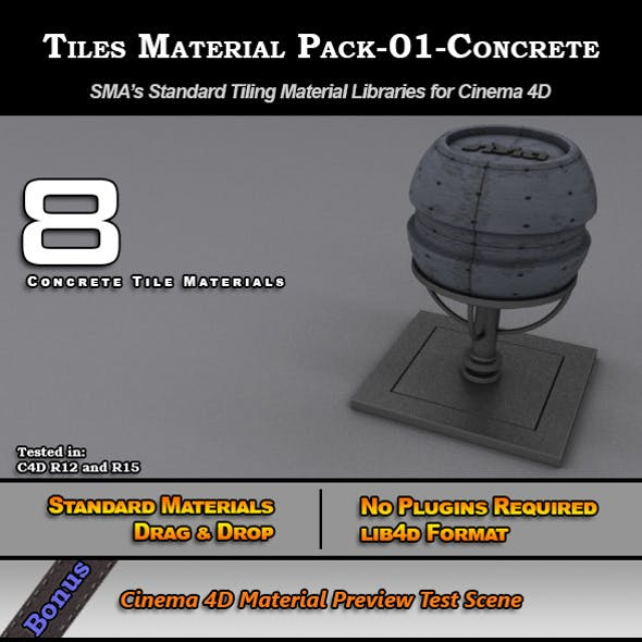 Standard Tiles Material Pack-01-Concrete for C4D